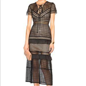 Self-Portrait Lace Up Peplum Midi Dress